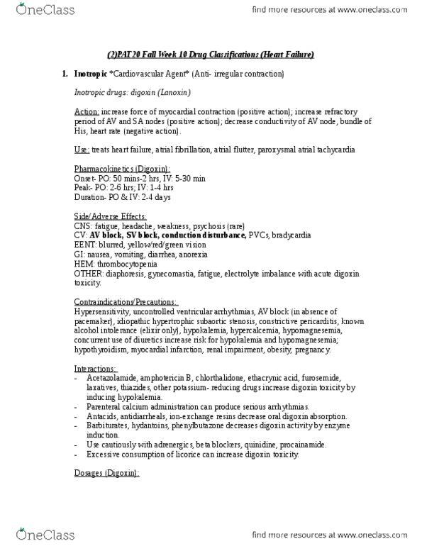 PAT 20A/B Chapter Notes - Chapter N/A: Hyponatremia, Nephrotoxicity,  Aminoglycoside
