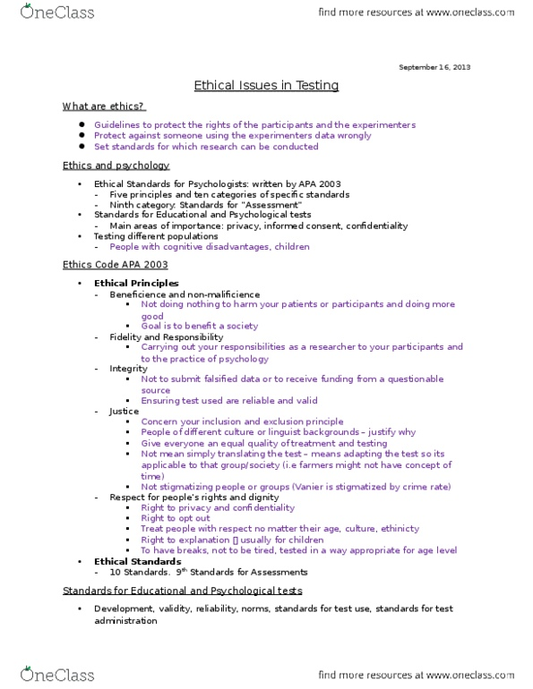 PSY 3307 Lecture Notes - Lecture 1: Psychological Testing, Value Judgment,  School Breakfast Program
