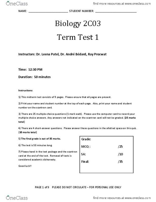 BIOLOGY 2C03 Study Guide - Midterm Guide: Academic Dishonesty, Dej,  Scantron Corporation