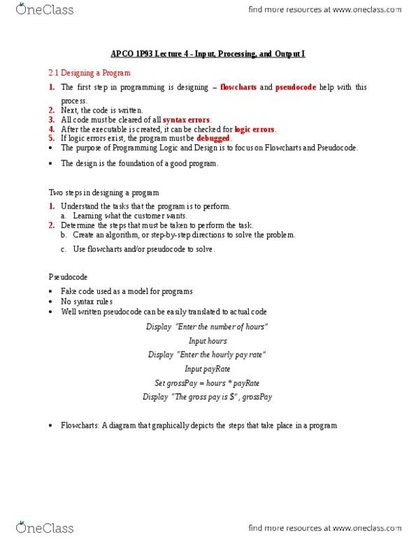 All Educational Materials for APCO 1P93 at Brock University