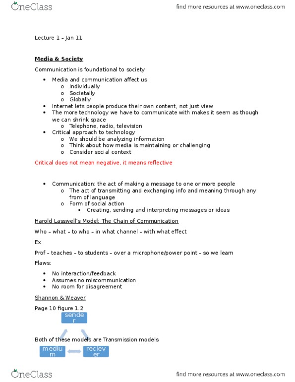 Class Notes for Communication Studies at McMaster University - OneClass