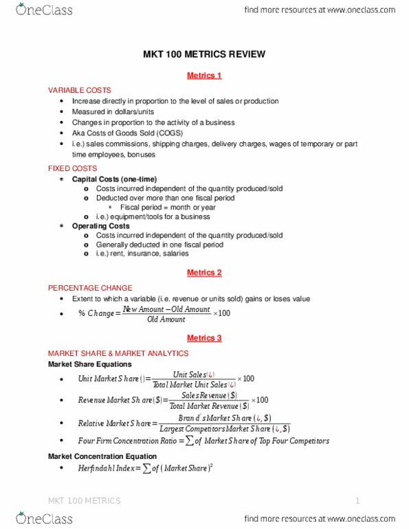 MKT 100 Study Guide - Final Guide: Making Money