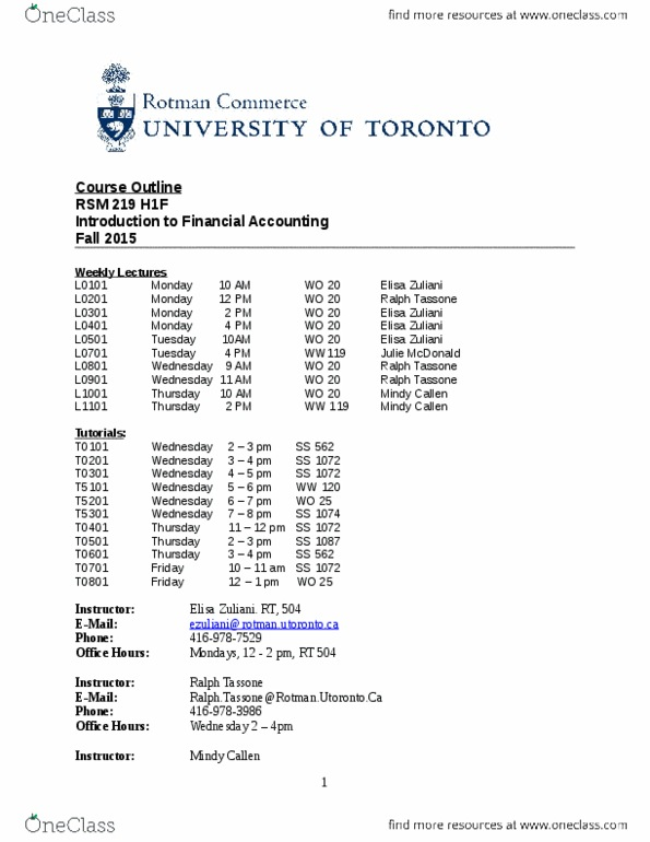 RSM219H1 Lecture Notes - Lecture 1: Team Dynamics, Financial Statement, Due  Date