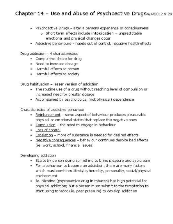 Chapter 14 – Use and Abuse of Psychoactive Drugs docx - OneClass