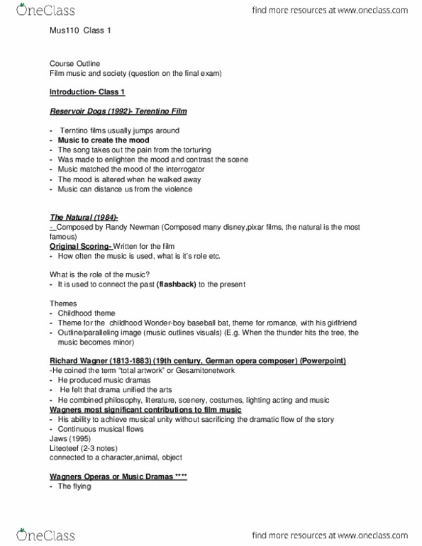 RTA 180 Lecture Notes - Winter 2015, Lecture 1 - Source Music