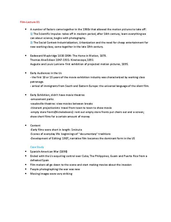 FILM 2401 Lecture Notes - Fall 2011, - Thomas Edison