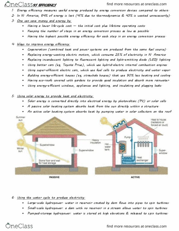 BIOL 111 Study Guide - Winter 2016, Final - Energy