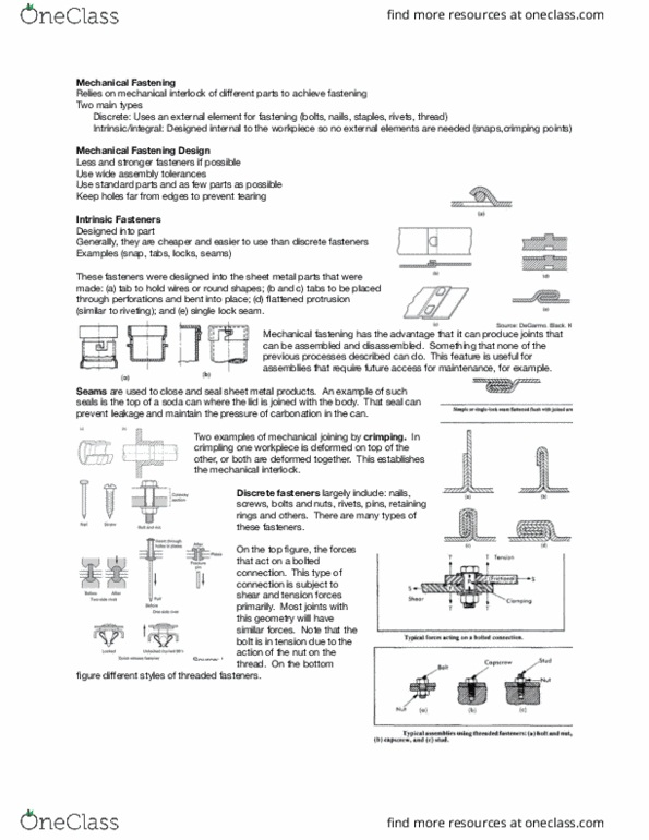 MFE 201 Lecture Notes - Winter 2016, Lecture 14 - Rivet, Fastener