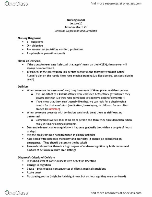 Class Notes for Nursing 3920A/B at Western University (UWO