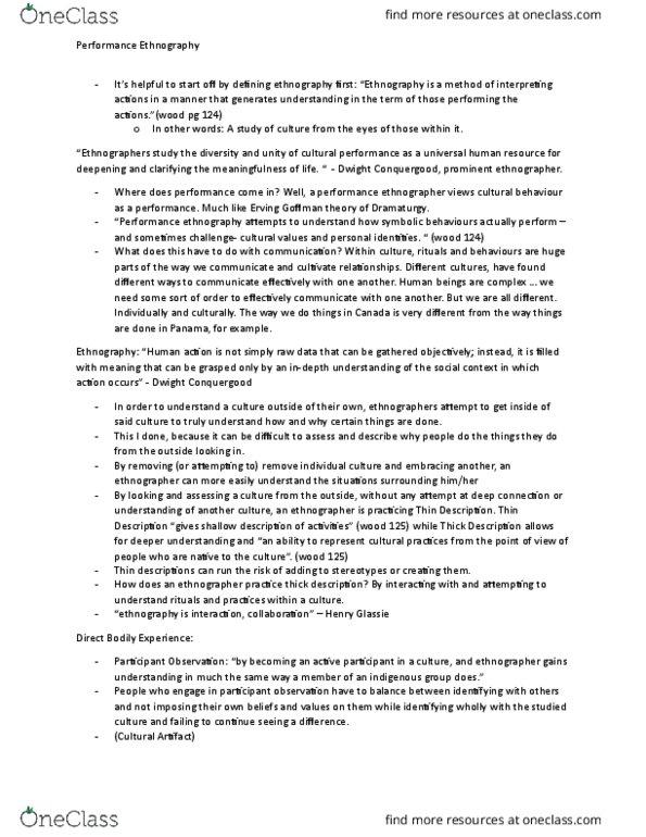 COMS 203 Lecture Notes - Lecture 9: Henry Glassie, Erving Goffman, Thick  Description