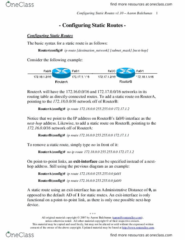 ECE495 Chapter Notes - Chapter 1: Static Routing, Default Route, Routing  Table