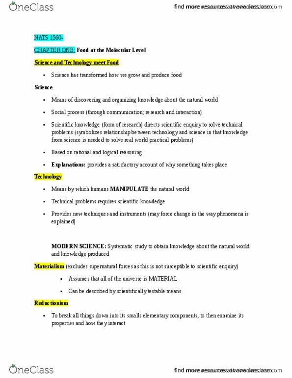 Class Notes for NATS 1560 at York University (YORKU) - OneClass