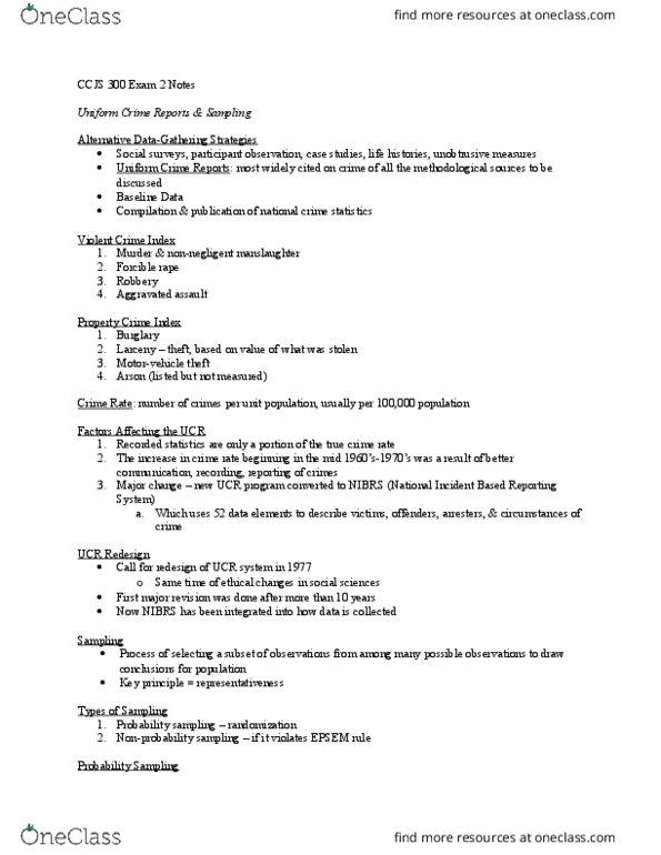 CCJS 300 Study Guide - Spring 2016, Midterm - National