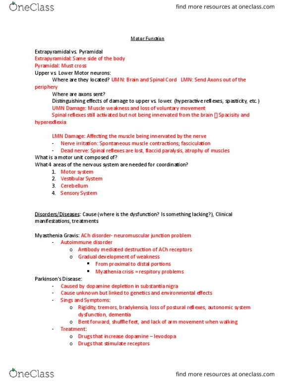 NURS 245 Lecture Notes - Lecture 1: Myasthenia Gravis, Substantia Nigra,  Flaccid Paralysis