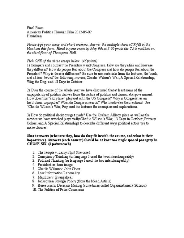 POLISCI 201 Study Guide - Spring 2012, Final - Larry Flynt
