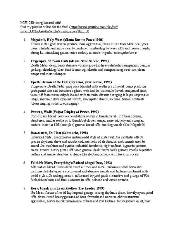 MUS 2304 Lecture Notes - Folk Rock, Voice Projection, Beat Music