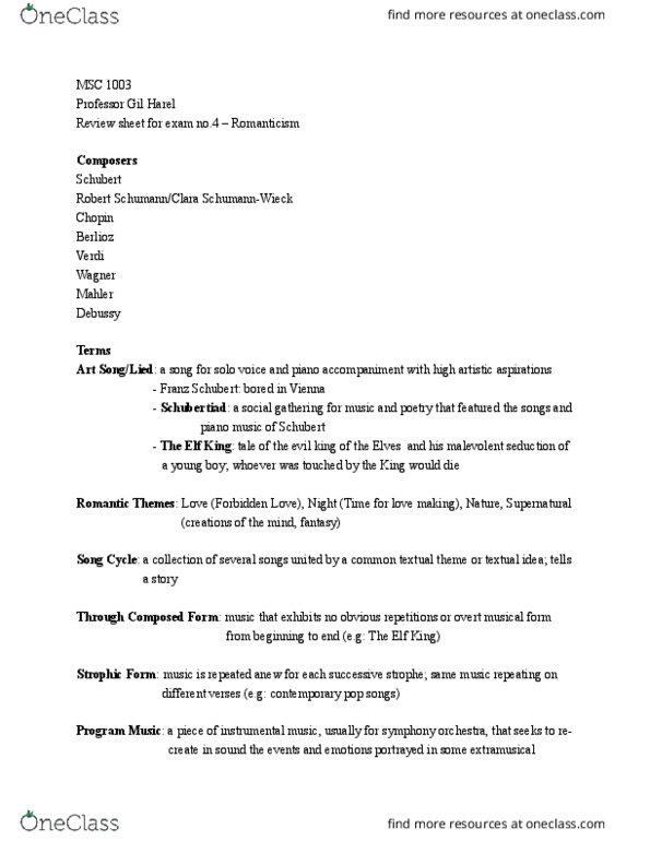 MSC 1003 Study Guide - Spring 2016, Quiz - Symphonie