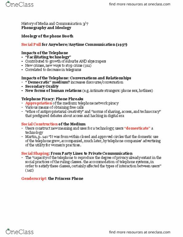 MCC-UE 3 Lecture Notes - Lecture 17: Joseph Horne Company, Federal Radio  Commission, Frantz Fanon