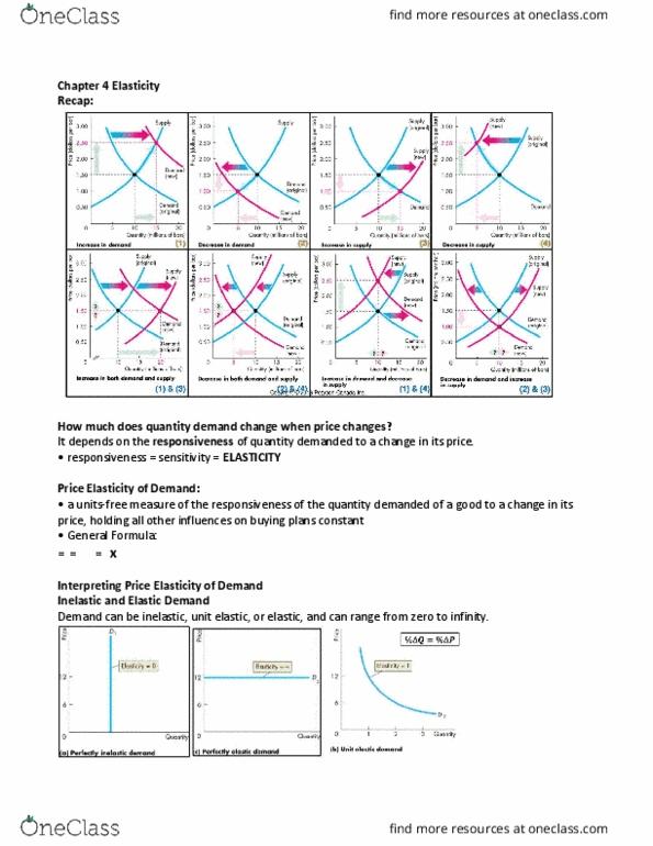 Economics 1021a B Lecture 4 Chapter 4 Elasticity Oneclass