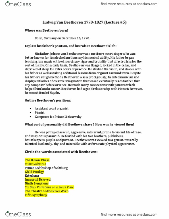 MUS 201 Lecture Notes - Winter 2016, Lecture 5 - Johann Van