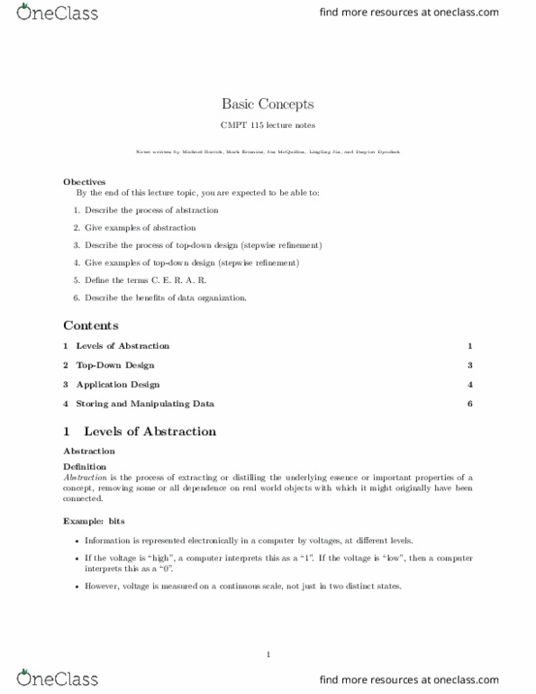 Class Notes For Computer Science At University Of Saskatchewan U Of S Oneclass