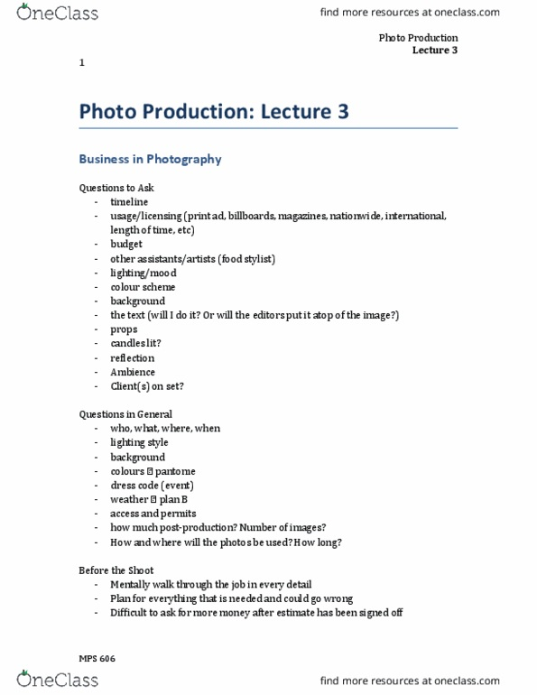 MPS 606 Lecture Notes - Lecture 3: Photo Manipulation, Howlong