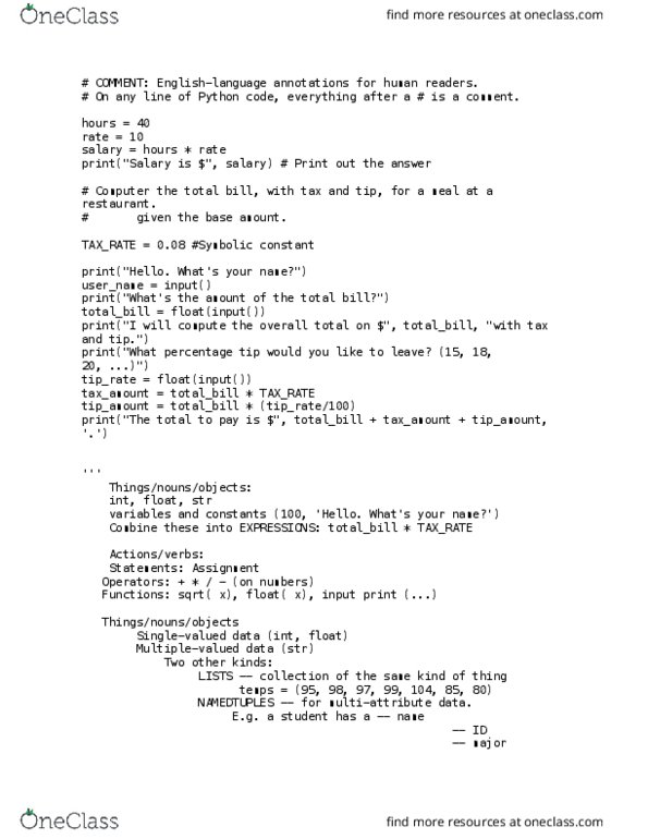 I&C SCI 31 Study Guide - Final Guide: Docstring, Empty Set, Boolean  Expression