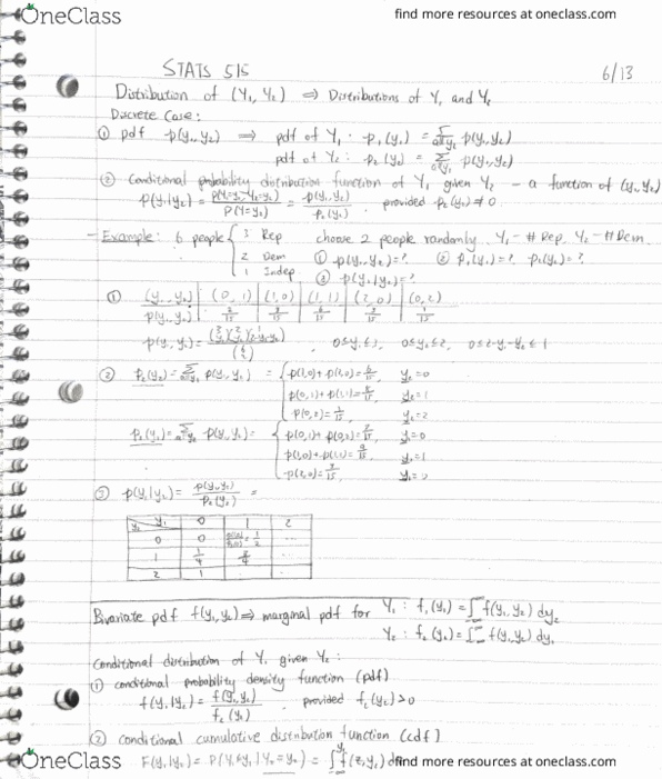 Class Notes for Statistics at University of Massachusetts