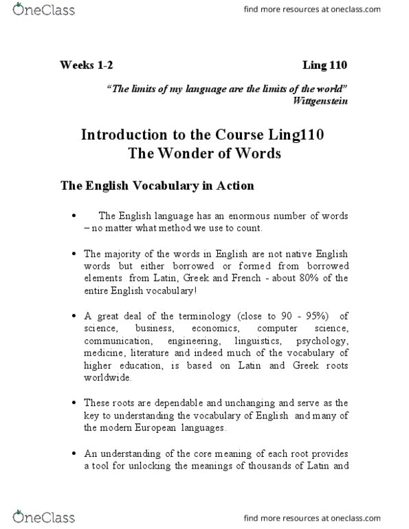 LING 110 Lecture Notes - Lecture 7: Participle, Infinitive