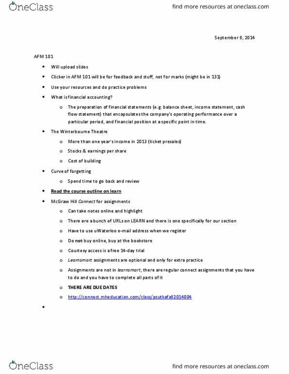AFM101 Lecture 1: AFM 101 Chapter 00 Intro Notes (September 8)