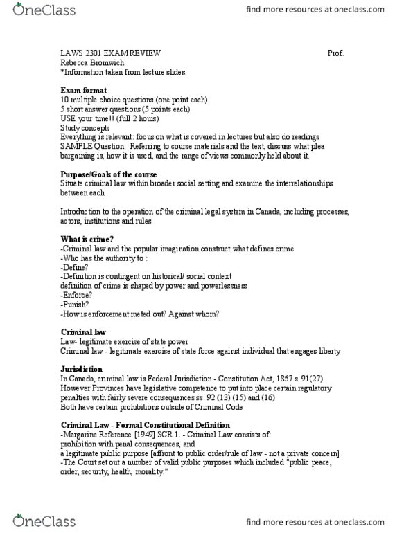 LAWS 2301 Study Guide - Midterm Guide: Mcgill Guide, Solitary Confinement,  Thesis Statement