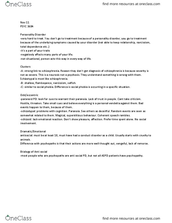 PSYC 3604 Lecture Notes - Fall 2014, Lecture 7 - Schizotypal