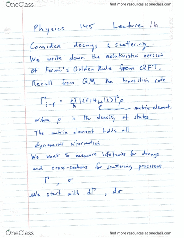 PHYSICS 145 Lecture Notes - Fall 2015, Lecture 16 - Indian Anna