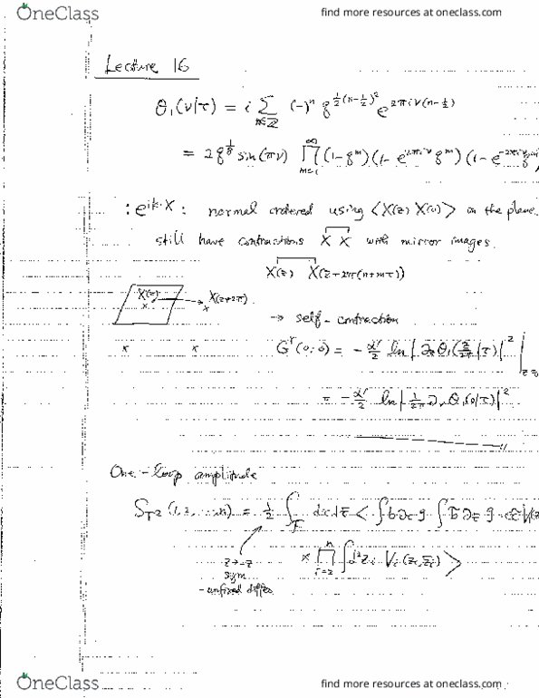 Class Notes for PHYSICS 287A at Harvard University - OneClass