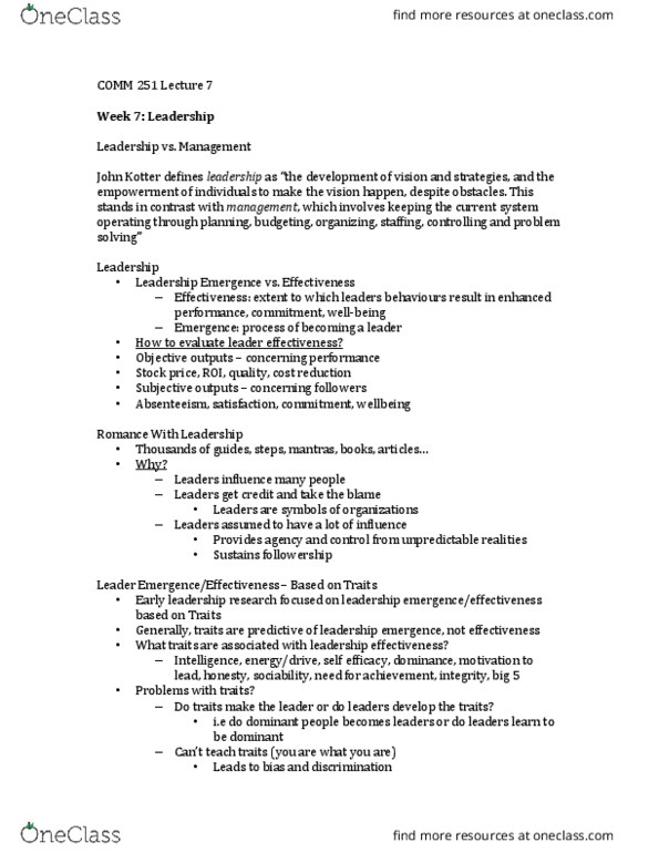 COMM 251 Lecture Notes - Winter 2016, Lecture 7 - John