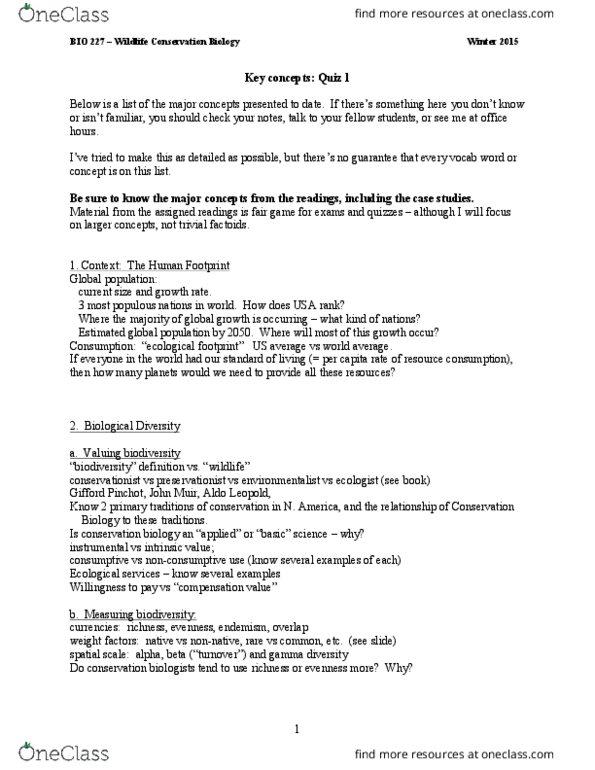 BIO 227 Study Guide - Quiz Guide: Invertebrate, Chameleon, Gamma Diversity