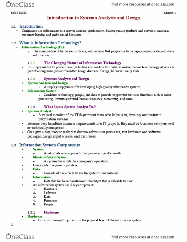 Cnit 18000 Textbook Notes Fall 2016 Chapter 1 Systems Development Life Cycle Computer Aided Software Engineering Critical Thinking