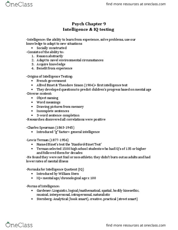 PSYCH 1100 Lecture Notes - Fall 2015, Lecture 12 - David