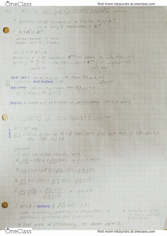 Textbook Notes for Mathematics at University of California