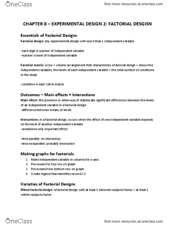 PSYC 2030 Chapter Notes - Chapter 7: Analysis Of Variance, Factorial  Experiment, Interaction Design