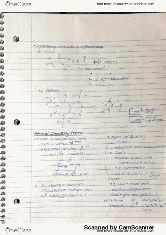 CHEM 210 Lecture 1: General Chemistry Review - OneClass