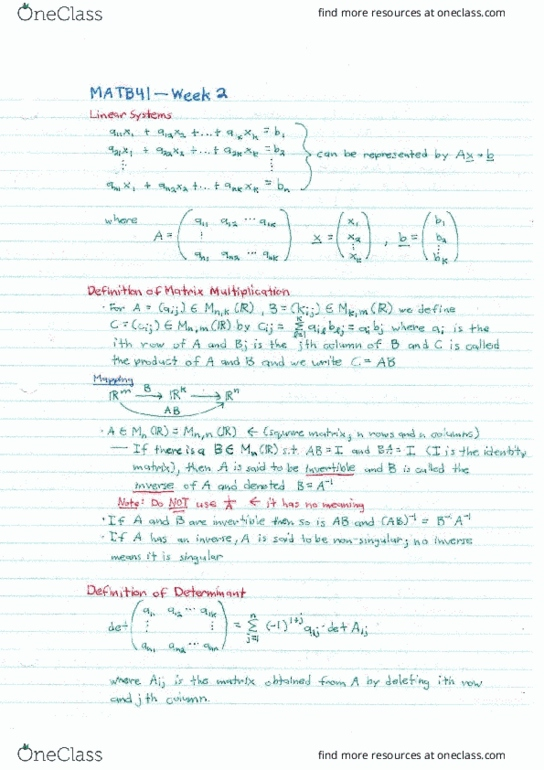 Class Notes for Eric Moore - OneClass